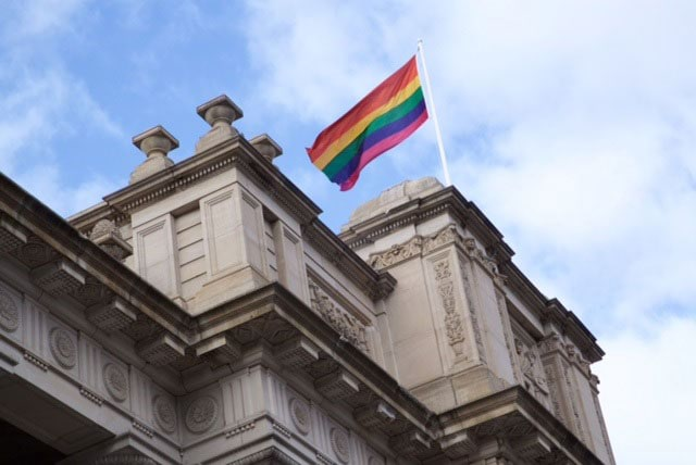 Rainbow flag over Parliament House