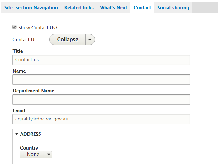 Example of Contact us - back end