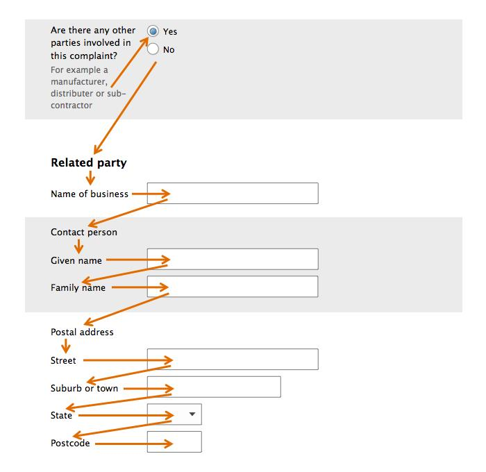 Form design: Example of the tab order set for logical form-filling flow
