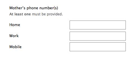 Form design: optional fields at least one answer must be provided explanation