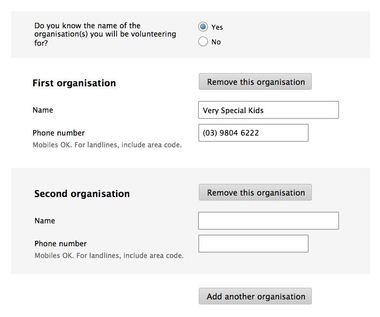 Form design: add another organisation button