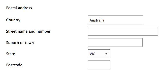 Form design: when country chosen is Australia, and autosuggest is not available.