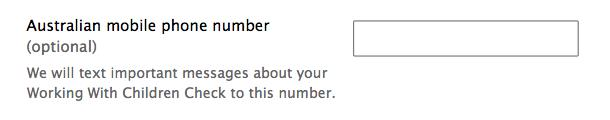 Form design: Example of when international mobile numbers are not allowed.