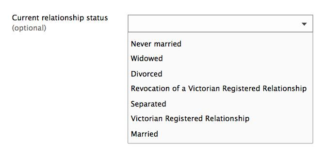 Form design: Example of collecting relationship status with a drop down.