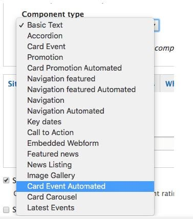 Drop-down displaying Card Event Automated