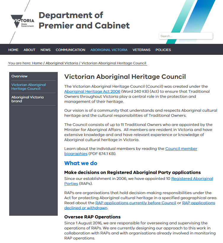 Screenshot of the old design for the Victorian Aboriginal Heritage Council screenshot