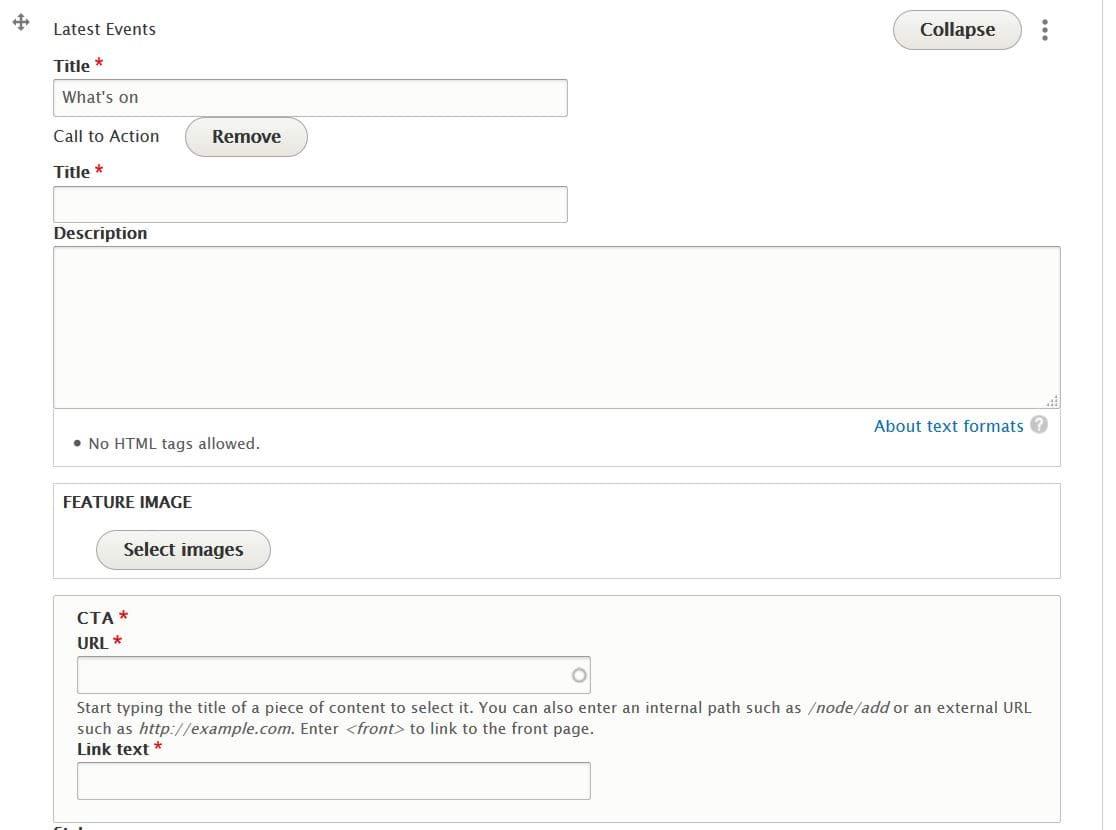 Latest events fields including Title, Description, Feature image, CTA URL and CTA Link text