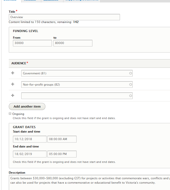 Shows the grant details tab, including Title, Funding level, Audienice, Grant dates and Description