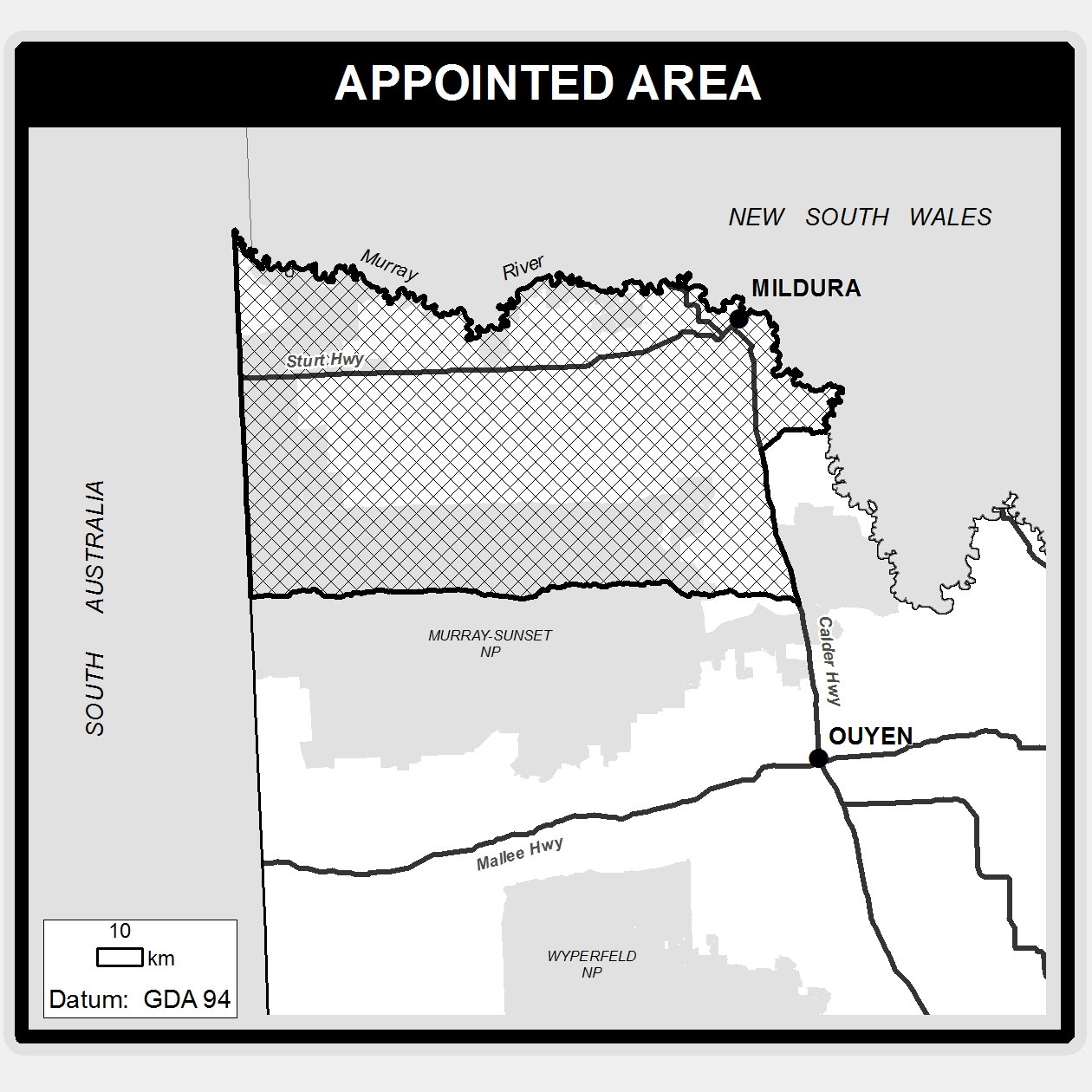 First People of the Millewa Mallee Aboriginal Corporation registered Aboriginal party area is bound by the Murray River to the north, the Calder Highway to the east, a line which extends horizontally from Hattah to the South Australian and Victorian border to the south, and the South Australian and Victorian border to the west.