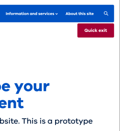 Example of published quick exit button which appears below the website header