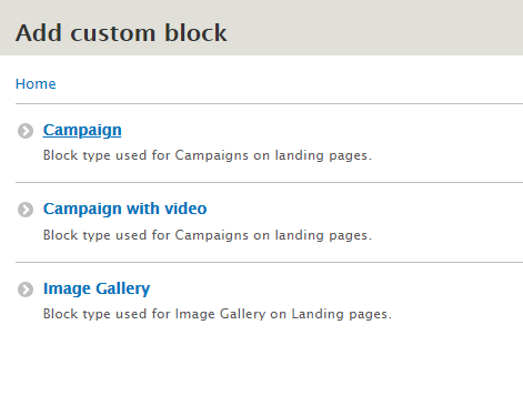 To add a customer block, you can select from either custom block with image or custom block with video