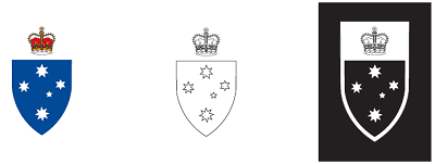 State Badge of Victoria colour options: full colour, single colour or white reversed