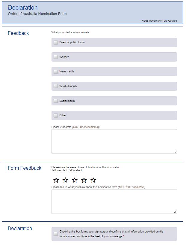 Screen shot - Declaration - Order of Australia nomination form