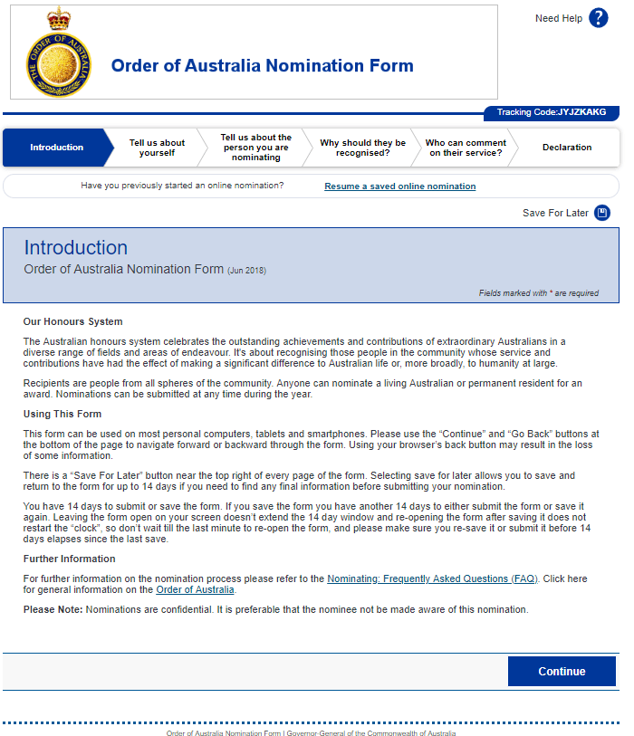 Introduction page screenshot - Order of Australia nomination form