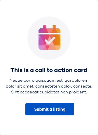 A visual example of the call to action card.