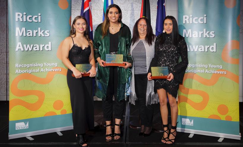 Rising Star recipient Mikayla George, Ricci Marks recipient Jedda Costa, Aunty Annita Marks and Ricci Marks recipient Amber Barker-Lovett