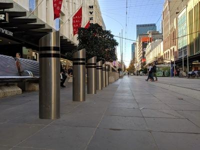 Bollards and street furniture at Bourke St Mall