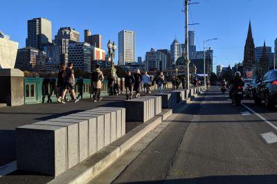 Protective barriers along Princes Bridge