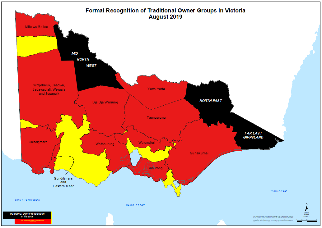 Map of Victoria which shows Traditional Owner Groups in Victoria that were engaged with, including mid north west, north east and far east Gippsland.
