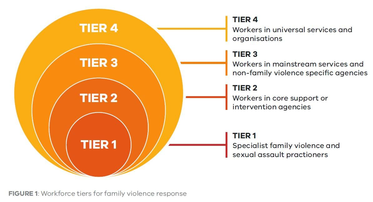 Tier 1: Specialist family violence and sexual assault practioners. Tier 2: Workers in core support or intervention agencies. Tier 3: Workers in mainstream services and non-family violence specific agencies. Tier 4: Workers in universal services and organisations
