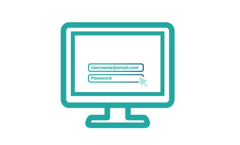 Computer screen with login fields