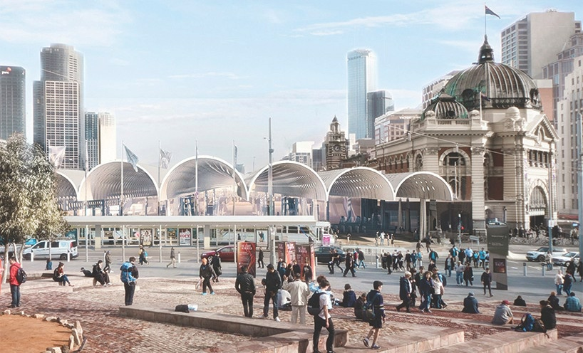 Flinders Street Station Architectural Render, Competition winner Architects: HASSELL+Herzog & de Meuron