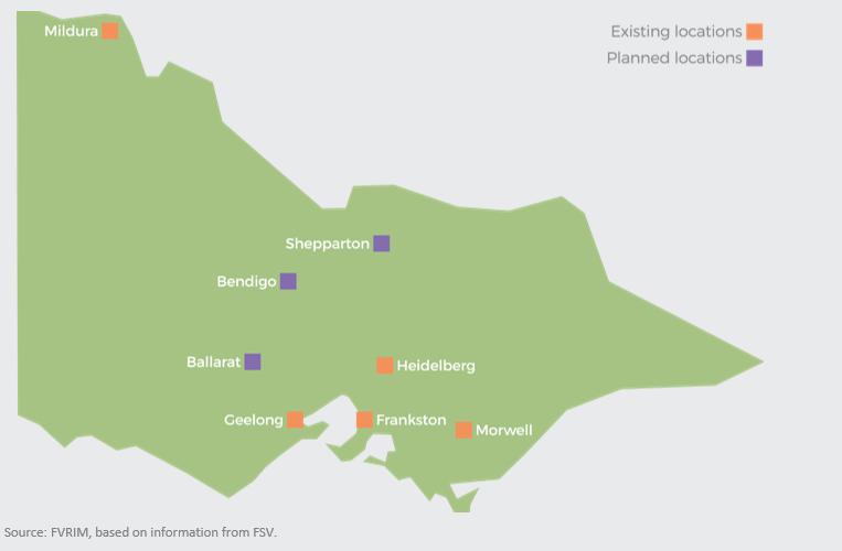 Existing locations, Planned locations, Mildura, Shepparton, Bendigo, Ballarat, Geelong, Hidelberg, Frankston, Geelong, Morwell
