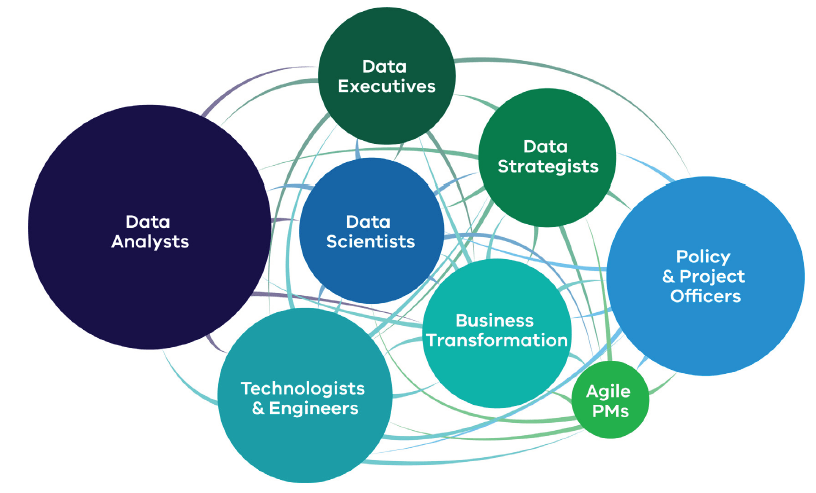 This graphic shows 8 circles with many lines connecting them all to each other. In order of size, the circles are labelled: Data analysts, Policy and project officers, Technologists and engineers, Business transformation, Data scientists, Data strategists and Data engineers