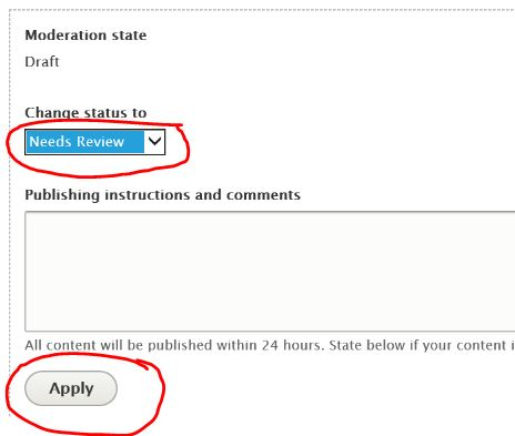Change a page to Needs review for the digital team to publish the page