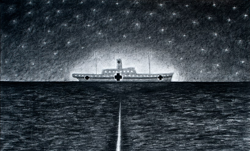 Dean Bowen's drawing capturing of the moment immediately before the Centuar was torpedoed. Light emanates from the ship and the star twinkle in the sky. The passage of the torpedo glows through the dark sea as it moves towards the ship.
