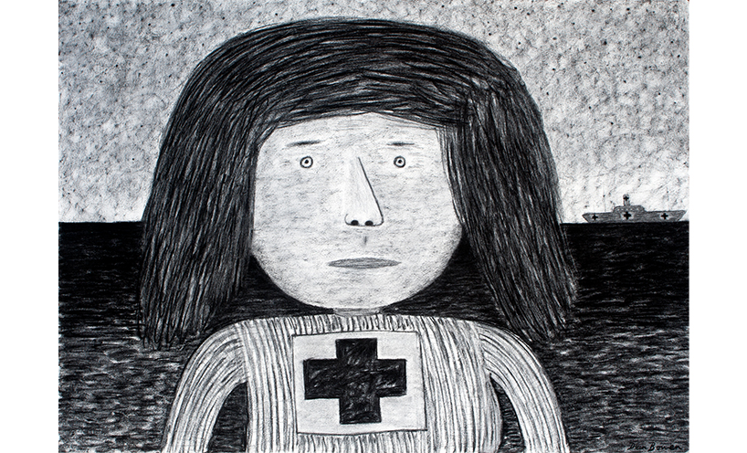 Dean Bowen's charcoal drawing of a nurse.