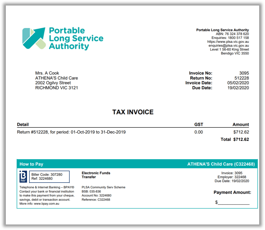 A PLSA tax invoice includes the Return ID number and the period the return is for, as well as the amount due, the date the payment is required by, and details of how to make payment.