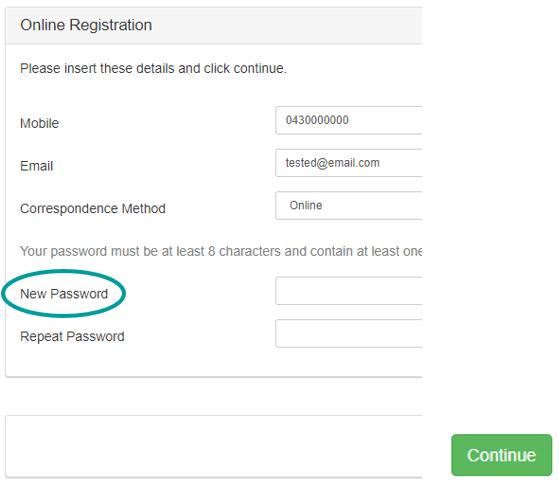 New password
