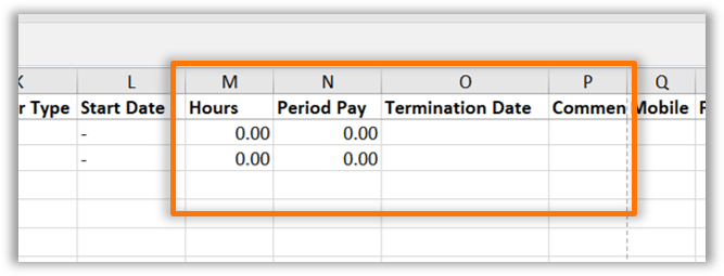 To complete the spreadsheet the only additional information required is hours, ordinary pay for the period, long service leave taken and a termination date if required.