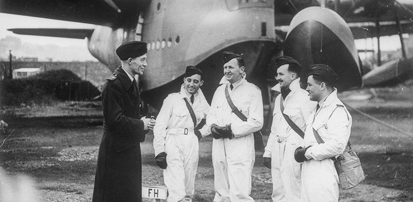 Five original 10 Squadron officers at RAF Station, Pembroke Dock c 1939 No. 10 Squadron's first commander, Leon Lachal, with the RAAF's first DFC recipient Charles Pearce. L-R Wg Cdr Leon Lachal; Flt Lt W 'Bill' Gibson; Flt Lt Charles Pearce; F O Ivan Podger; Flt Lt W 'Bill' Garing. Australian War Memorial (UK3073