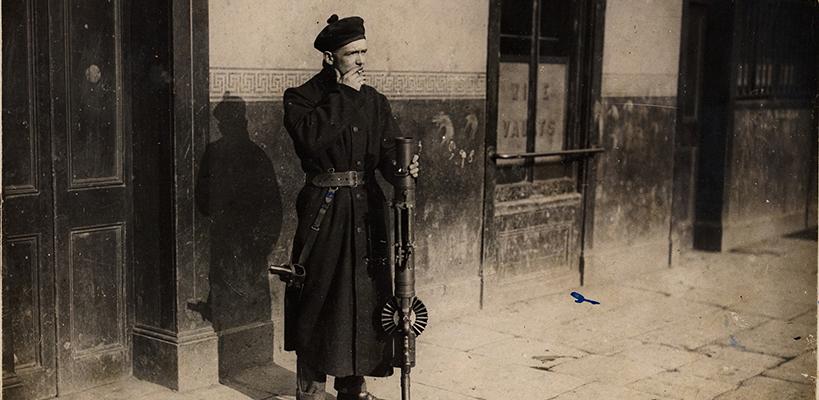 A Black and Tan on duty in Dublin c 1920–21 photographer W D Hogan National Library of Ireland (HOGW 121)