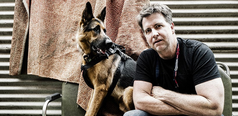 Ben with Shiloh in the studio 2018  photographer Michael Christofas