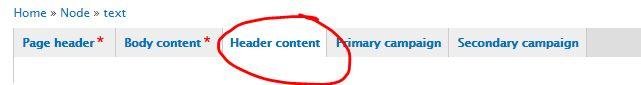 Header content tab