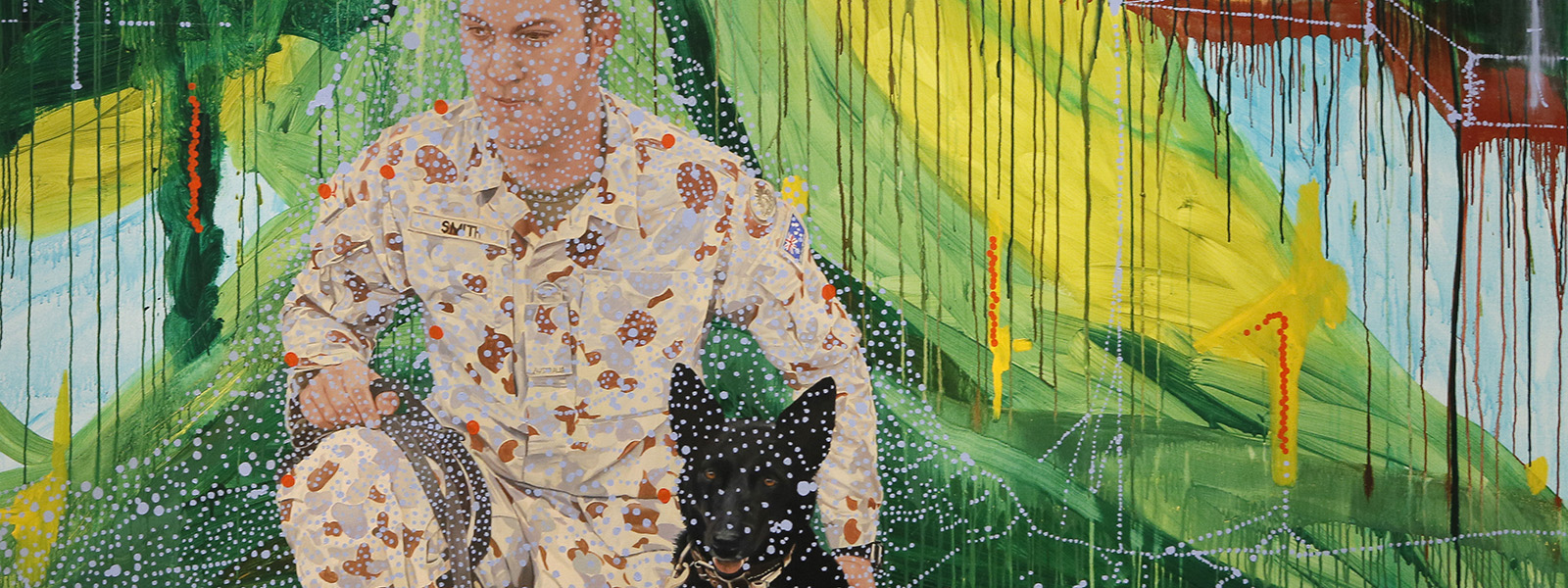 Pierrot (Sarbi) 2014, oil and acrylic on canvas, Lyndell Brown, Charles Green and Jon Cattapan, Shrine of Remembrance Collection