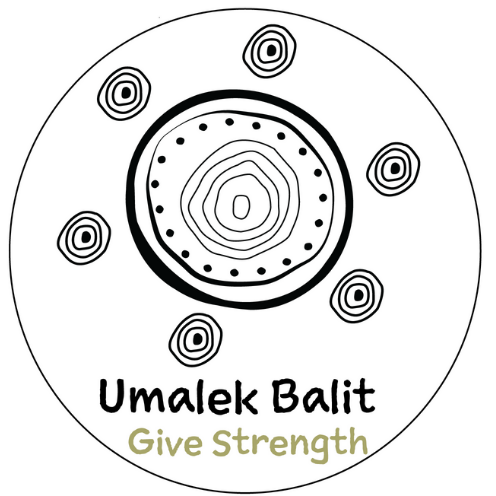 Logo of the Aboriginal family violence support program, Umalek Balit. Large concentric circle in the center, with six smaller concentric circles around it.