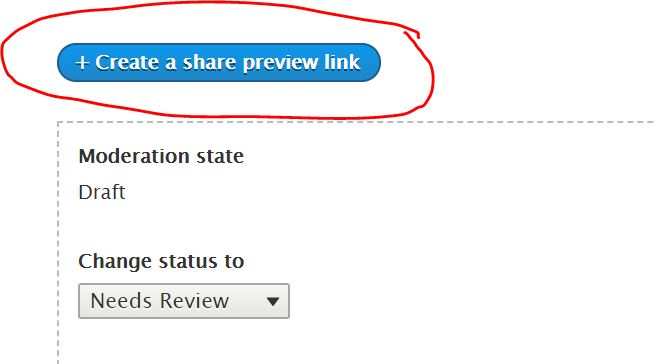 The Create a share preview link button is located on the View tab, once you've saved your CMS page in draft.