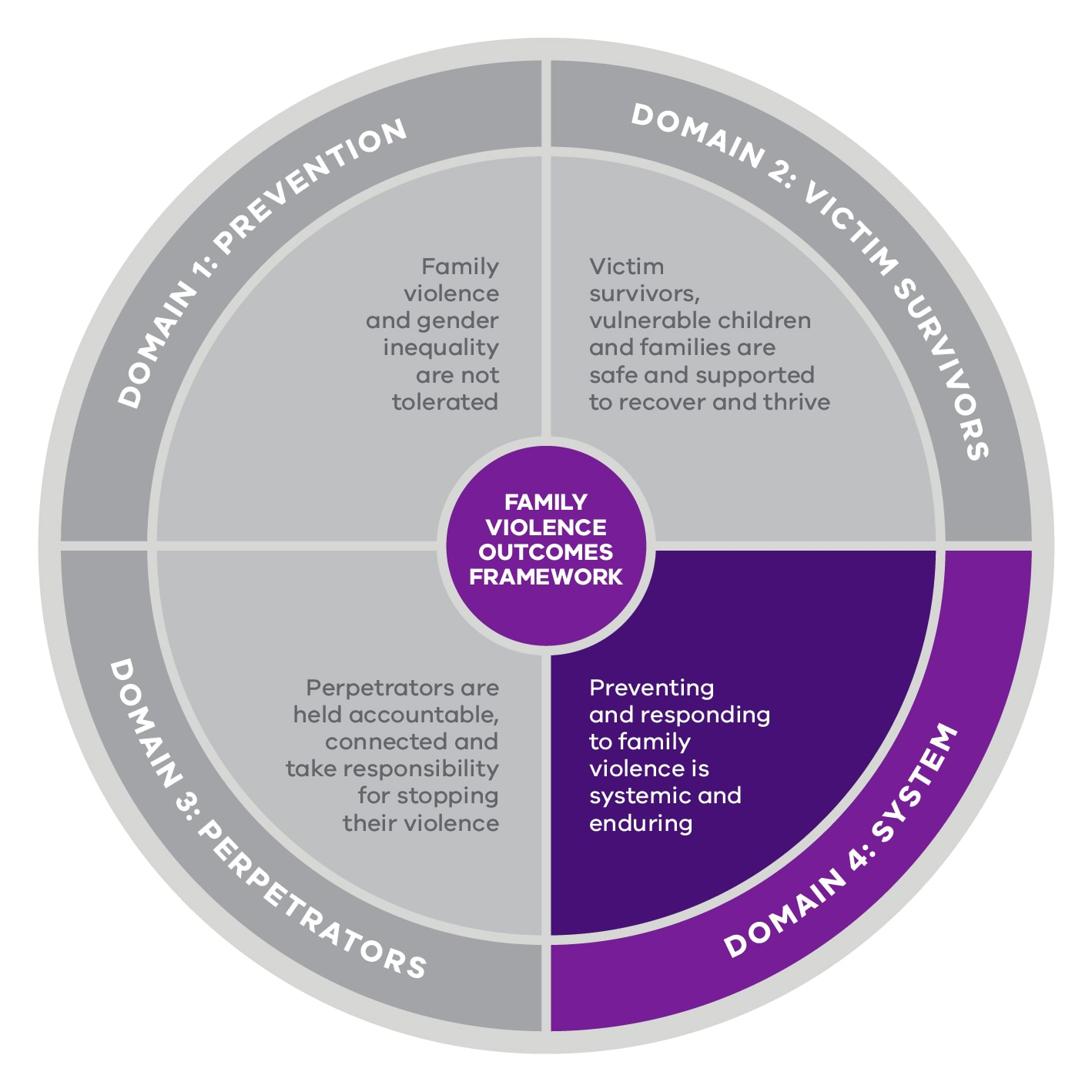 Domain 4, Preventing and responding to family violence is systemic and enduring