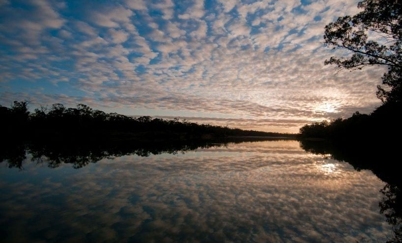 Image of the murray river in the late afternoon, view of the sky and the sun behind the trees