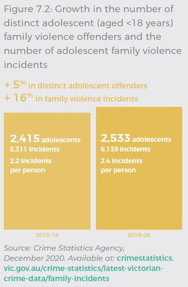5% increase in distinct adolescent offenders and a 16% increase in family violence incidents. During 2015-16, 2,415 adolescents recorded 5,311 incidents, an average of 2.2 incidents per person. During 2019-20, increased to 2,533 adolescents recording 6,139 incidents, an average of 2.4 incidents per person. Source: Crime Statistics Agency, December 2020. Available at: crimestatistics.vic.gov.au/crime-statistics/latest-victoriancrime-data/family-incidents