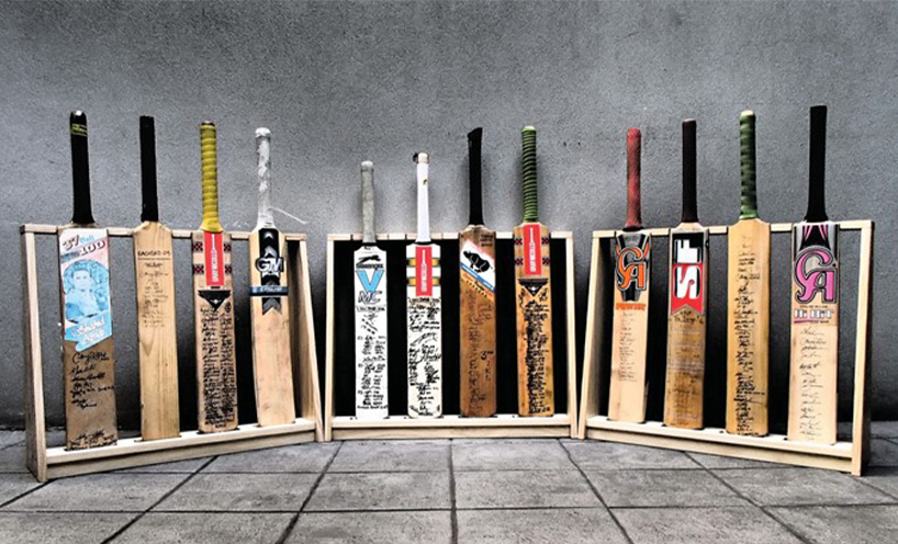 Sergeant H's collection of cricket bats from his deployments 2016