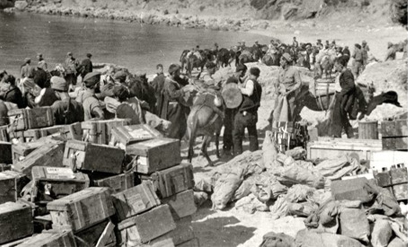 Loading up supplies 1944