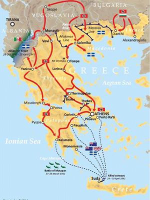 Map of Greece showing German, Italian and Australian troop movements, 1941
