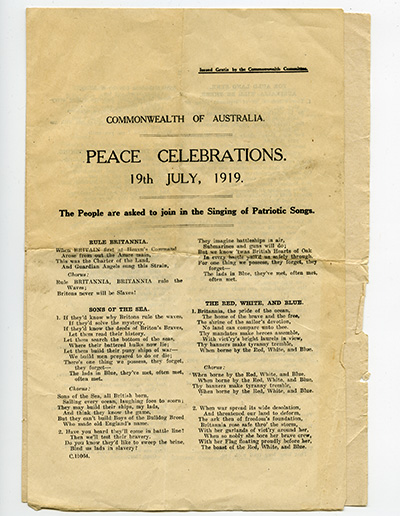 Peace Celebration 19 July 1919 Albert J Mullett, Government Printer, Melbourne Shrine Collection