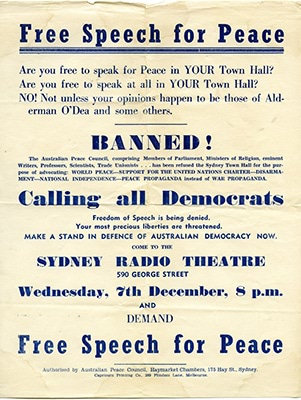 Free Speech for Peace pamphlet 1949