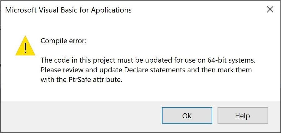 64 bit error message for excel